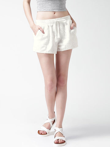 FOREVER 21 Off-White Lace Shorts