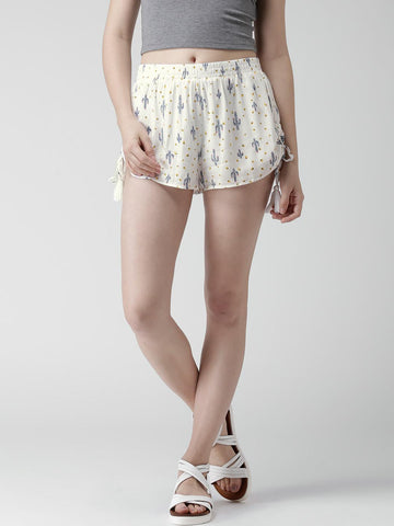 FOREVER 21 Off-White Printed Crinkled Shorts