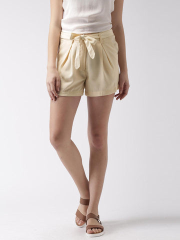 Mast & Harbour Beige Pleated Shorts