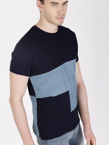 ether Men Navy Colourblocked Round Neck T-shirt