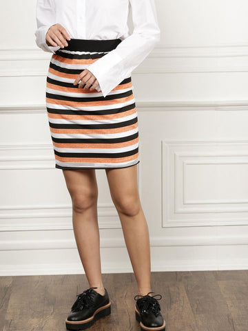all about you from Deepika Padukone Orange & Black Pencil Striped Skirt