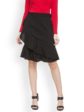 Globus Women Black Front Frill Skirt