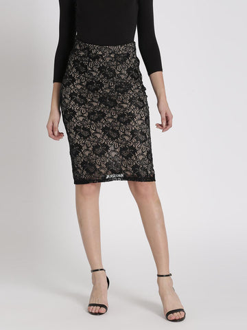 Chemistry Black & Beige Lace Pencil Skirt