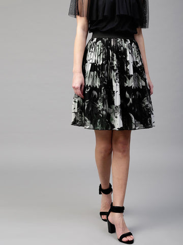 SASSAFRAS Black & Grey Floral Print Accordion Pleat A-Line Skirt