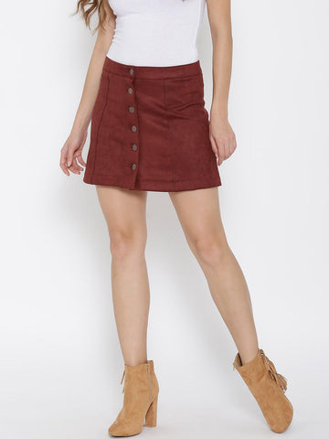 FOREVER 21 Brick Red Velvet Finish A-Line Mini Skirt