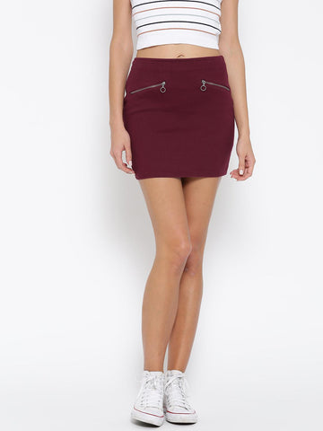 FOREVER 21 Burgundy Denim Mini Skirt