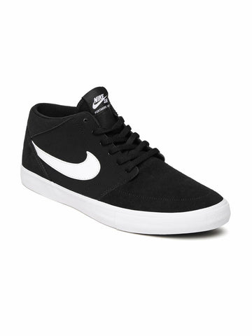 Nike Men Black PORTMORE II SOLAR Mid-Top Suede Skate Shoes