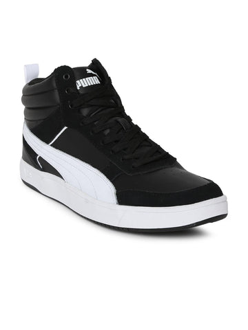Puma Men Black Solid Suede Mid-Top Rebound Street v2 IDP Sneakers