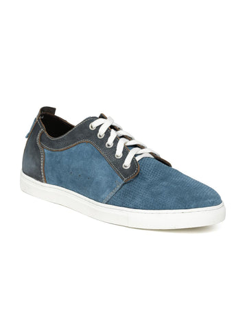 Alberto Torresi Men Blue Perforated Suede Casual Shoes