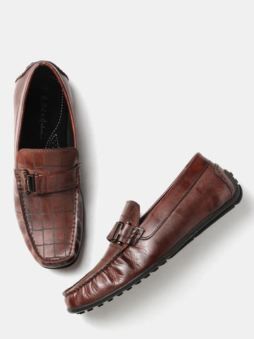 Mast & Harbour Men Brown Checked Driving Shoes
