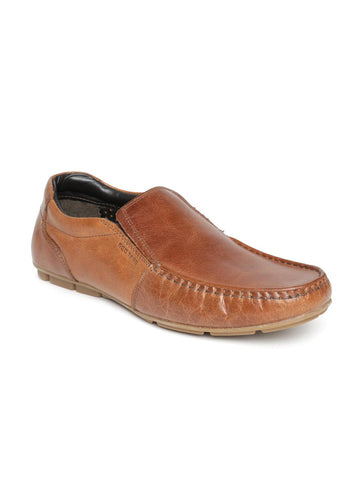 Red Tape Men Tan Brown Leather Slip-Ons