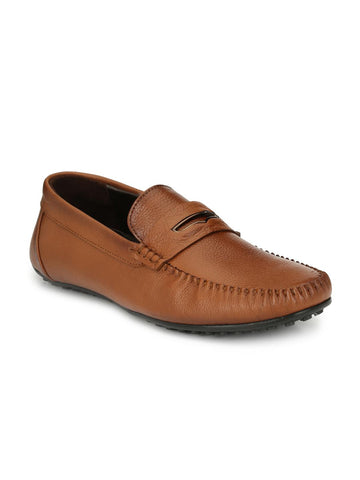 Alberto Torresi Men Tan Brown Leather Loafers
