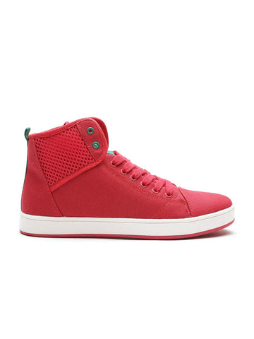 United Colors of Benetton Men Red Solid Mid-Top Sneakers