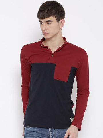 Hubberholme Men Red Colourblocked Slim Collar T-shirt
