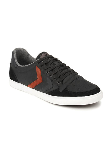hummel Unisex Black Leather Slimmer Stadil Duo Oiled Low Sneakers
