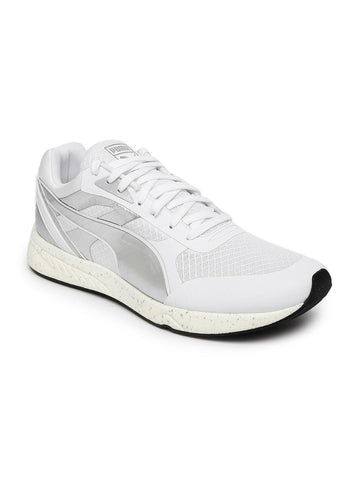 Puma Men White & Silver-Toned 698 Ignite Metallic Solid Sneakers