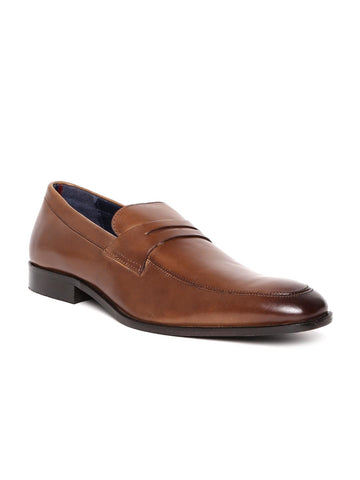 Bata Men Brown Leather Formal Slip-Ons