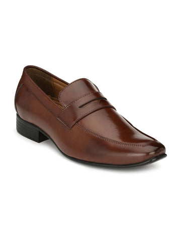 Ferraiolo Men Brown Leather Formal Loafers