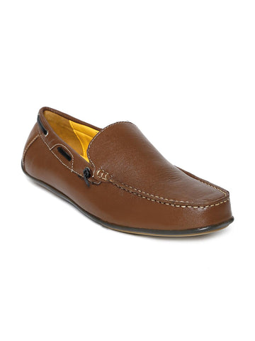 Bata Men Brown Leather Loafers