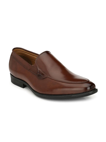 Ferraiolo Men Brown Leather Formal Slip-Ons