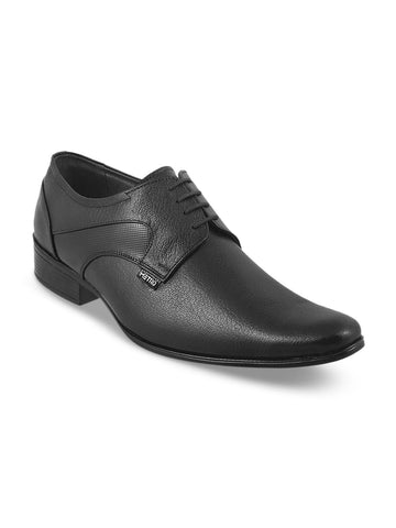 Metro Men Black Formal Leather Oxfords