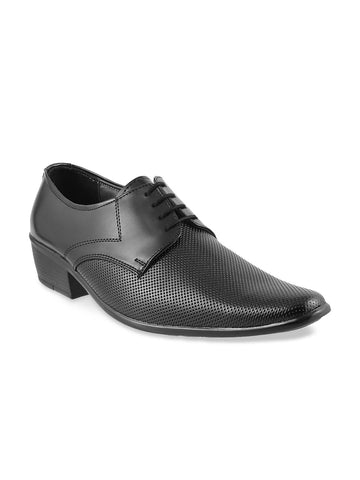 Metro Men Black Perforated Leather Derbys
