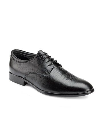 Escaro Men Black Textured Formal Derbys
