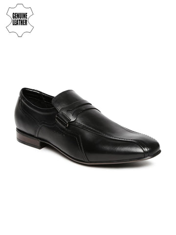 Ruosh Work Men Black Genuine Leather Semiformal Loafers