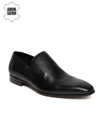 Ruosh Work Men Black Genuine Leather Semiformal Slip-Ons