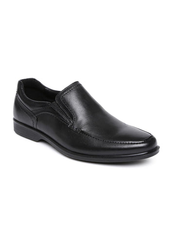 Hush Puppies Men Black Elvan Leather Semiformal Slip-Ons