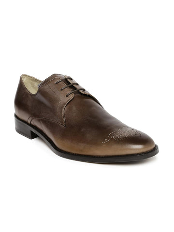 Language Men Brown Leather Semiformal Shoes