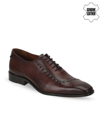 BRUNE Men Brown Genuine Leather Oxfords