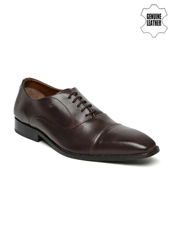 Arrow Men Brown Genuine Leather Oxford Shoes