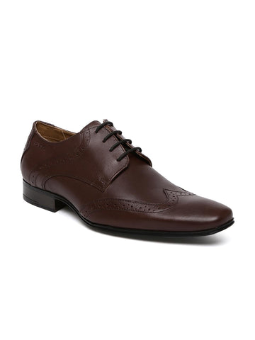 Ruosh Work Men Brown Formal Leather Brogue Shoes