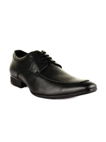 BuckleUp Men Black Leather Derbys