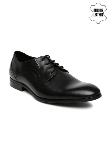 Ruosh Work Men Black Genuine Leather Semiformal Derby Shoes