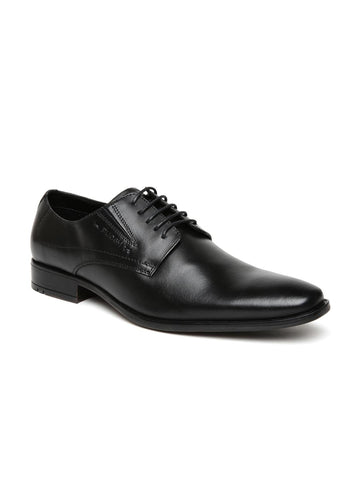 Ruosh Men Black Leather Formal Derbys