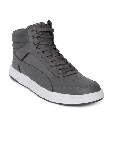 Puma Men Grey Solid Leather Rebound Street v2 L IDP High-Top Sneakers