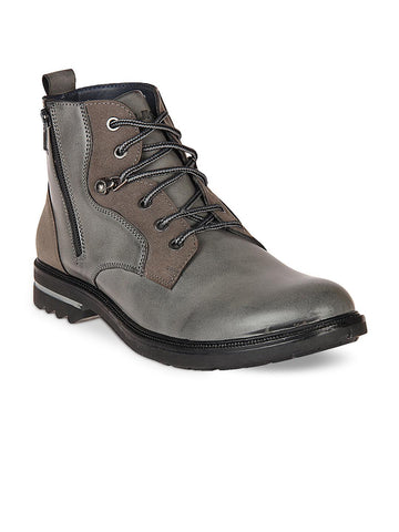 Duke Men Grey Flat Boots
