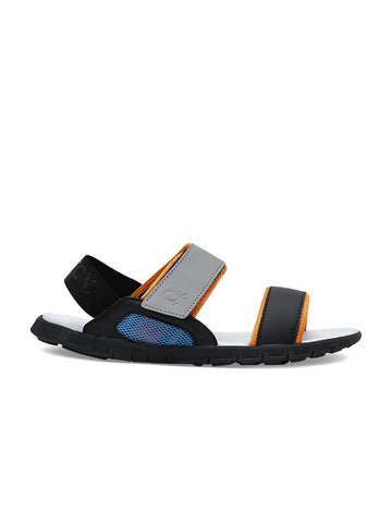 United Colors of Benetton Men Grey & Black Sports Sandals
