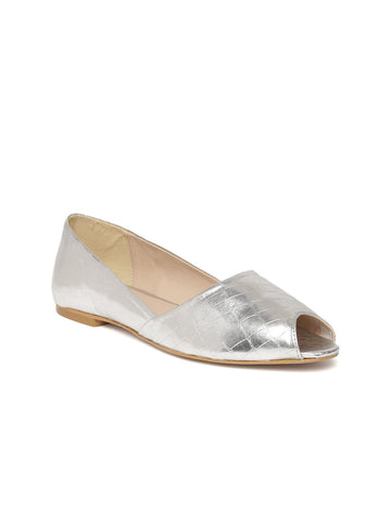 4fa2a34e6a Carlton London Women Silver-Toned Textured Peep-Toes – similar ...