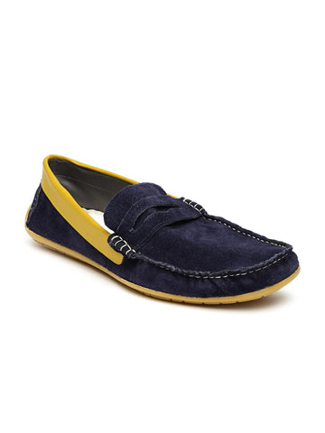 Knotty Derby Men Blue Solid Suede Loafers
