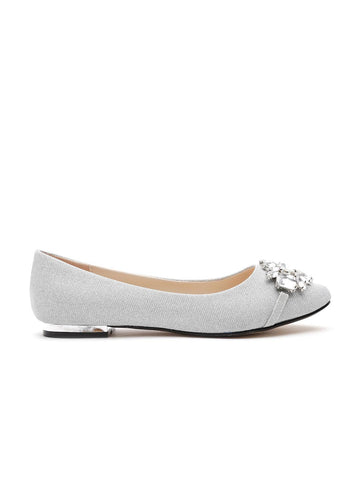 QUIZ Women Silver-Toned Embellished Ballerinas