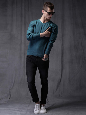 WROGN Teal Blue Slim Fit Sweater