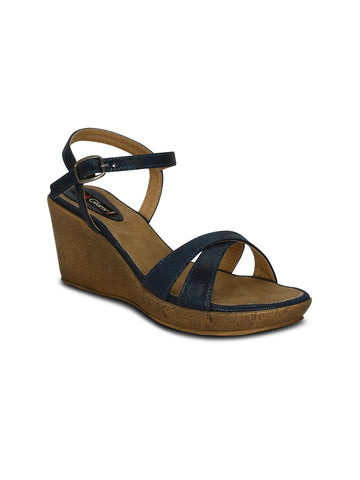 Get Glamr Women Navy Blue Solid Sandals