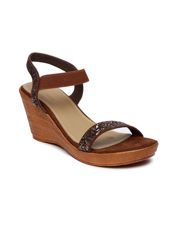 Inc 5 Women Brown Shimmery Wedges