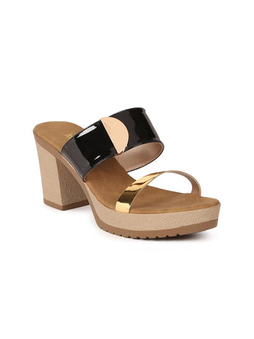Inc 5 Women Black & Gold-Toned Colourblocked Platforms