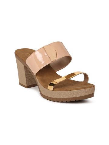 Inc 5 Women Nude-Coloured & Rose Gold-Toned Colourblocked Sandals