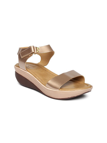 Ginger by Lifestyle Women Gold-Toned Solid Wedges