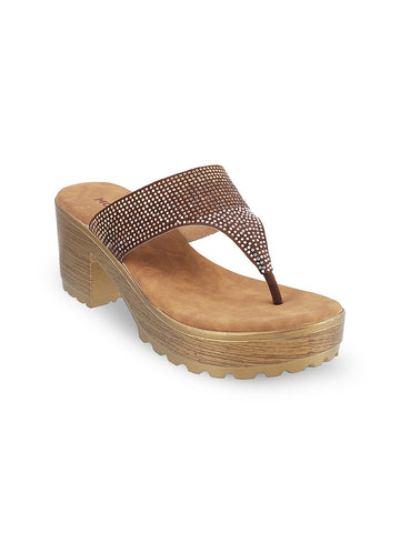Mochi Women Brown Embellished Sandals